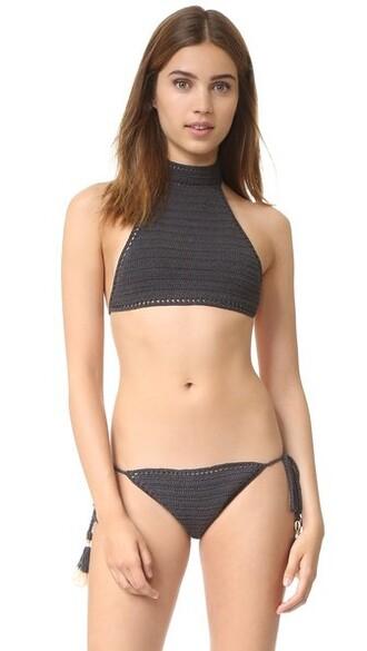 bikini bikini top halter bikini crochet charcoal swimwear