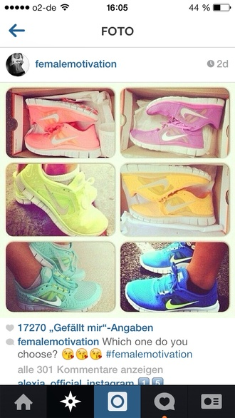 shoes pink blue green yellow nike nikefree nike running shoes colers
