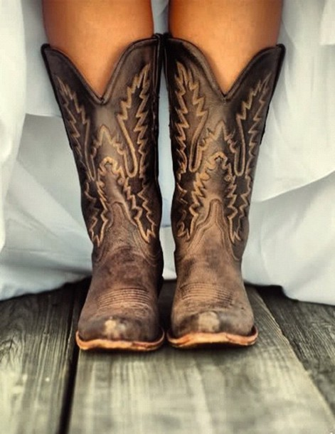 Shoes Boots Cowboy Cowgirl Brown Leather Vintage Country