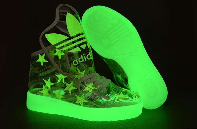 Adidas big tongue hightops glow in the dark stars the transparent upper