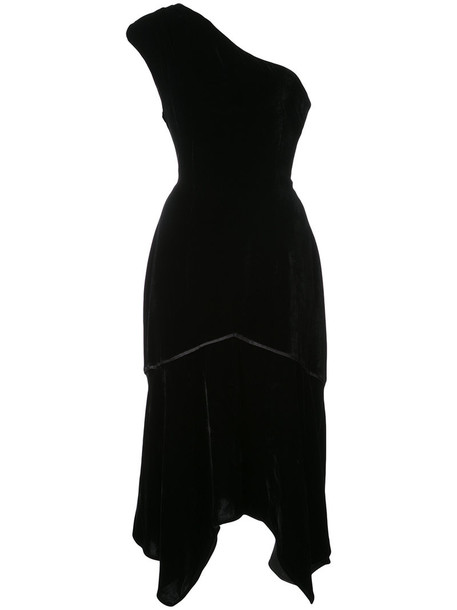 Natori dress one shoulder dress women black silk