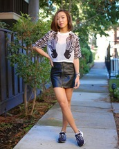 monkeyshines,blogger,top,zebra print,animal,t-shirt,leather skirt,sneakers,zipped skirt,zip-up skirt,mini skirt,black leather skirt,printed top,summer outfits,adidas shoes,adidas