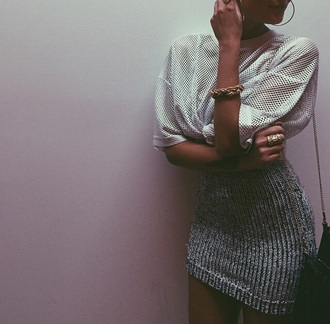 skirt lurex silver mini skirt bodycon skirt mesh top gold bracelet dope urban metallic knitted dress knitwear sweater