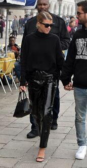 pants,sofia richie,sandals,turtleneck,sweater,turtleneck sweater,streetstyle,fall outfits