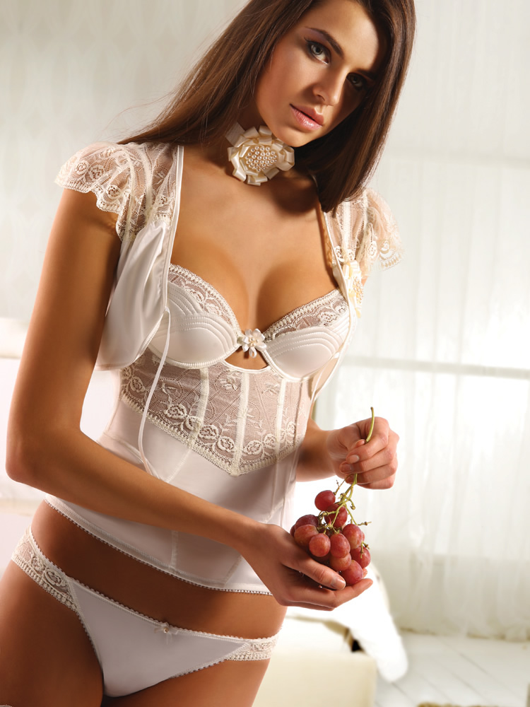 Bridal satin lace corset set