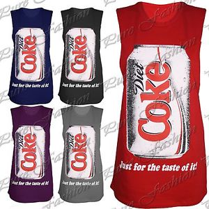 New Womens Sleeveless Diet Coke Celebrity Ladies Tank Vest Long Top Tee T Shirt | eBay