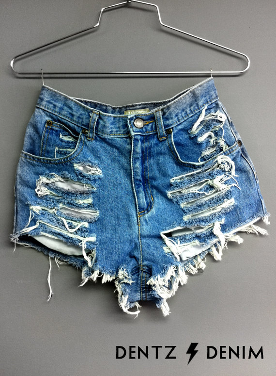 High waisted denim shorts  shredded by dentzdenim on etsy