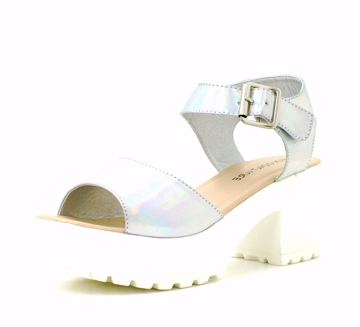 cacbb51c05f Womens Ladies Silver Hologram Strappy Chunky Platform Peeptoe Cleated Sole  Fashion Sandals Shoes - X65 (8
