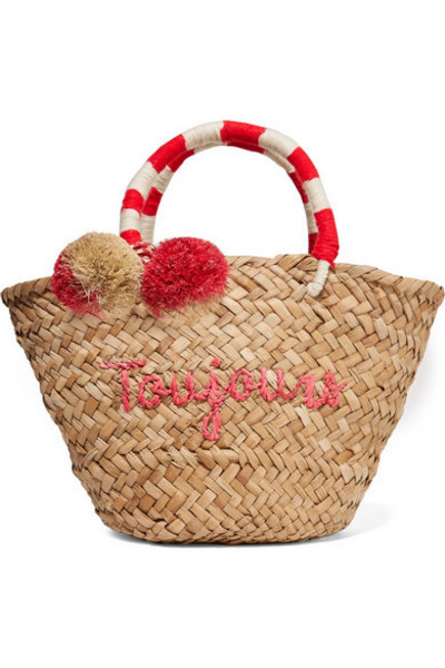 Kayu - St Tropez Mini Pompom-embellished Embroidered Woven Straw Tote in red