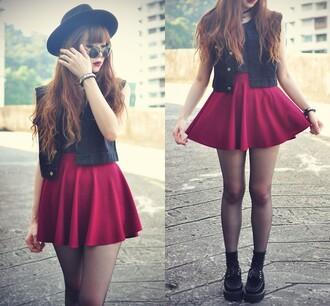 skirt romwe red retro ruffle