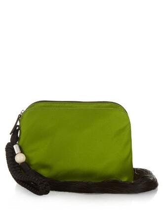 tassel clutch silk satin green bag