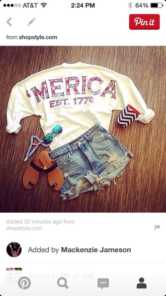 shirt america summer red white blue sweatshirt top 'merica usa patriotic