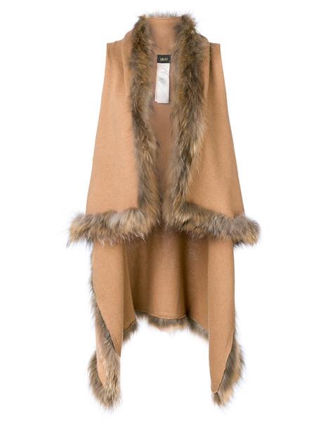 LIU JO vest fur vest fur women cotton brown jacket