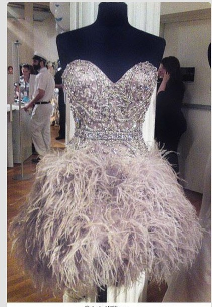 dress sexy party dresses sequin dress feathers sparkle glitter sleeveless skirt grey feather dress prom homecoming party dress short dress silver silver dress graduation dress feather dress strapless dress sweetheart dress homecoming dress prom dress beaded dress cute dress