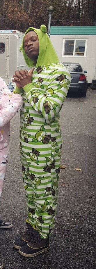 pajamas yoda onesie green stripes cute