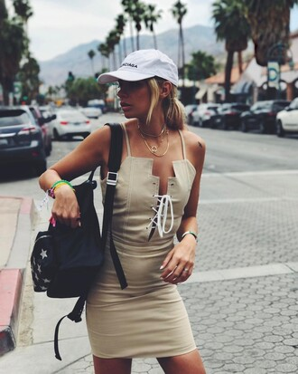 top tumblr cap nude top lace up bodycon dress bodycon summer dress summer outfits backpack black backpack
