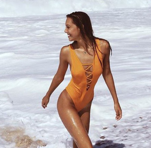 Swimwear Orange Bathing Suit Wheretoget