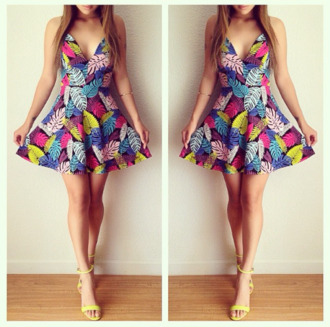 dress clothes cute dress cute feathers feather dress multicolor multicolor dress leaves leaf motif summer