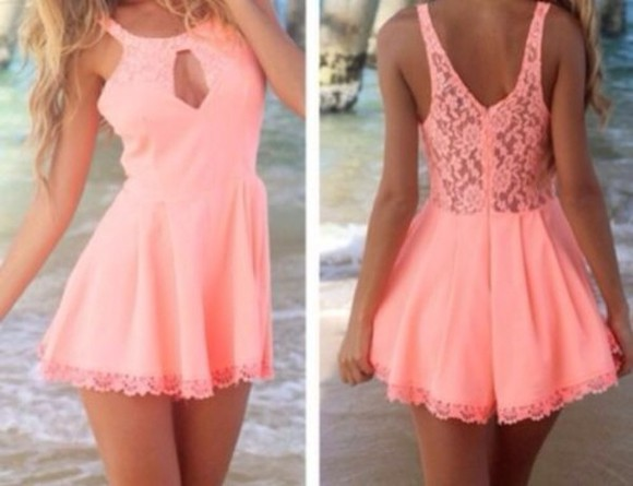 dress pink dress short party dresses summer holiday pink lace cute peach spring