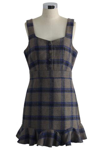 dress plaid day peplum pinafore dress in taupe chicwish plaid