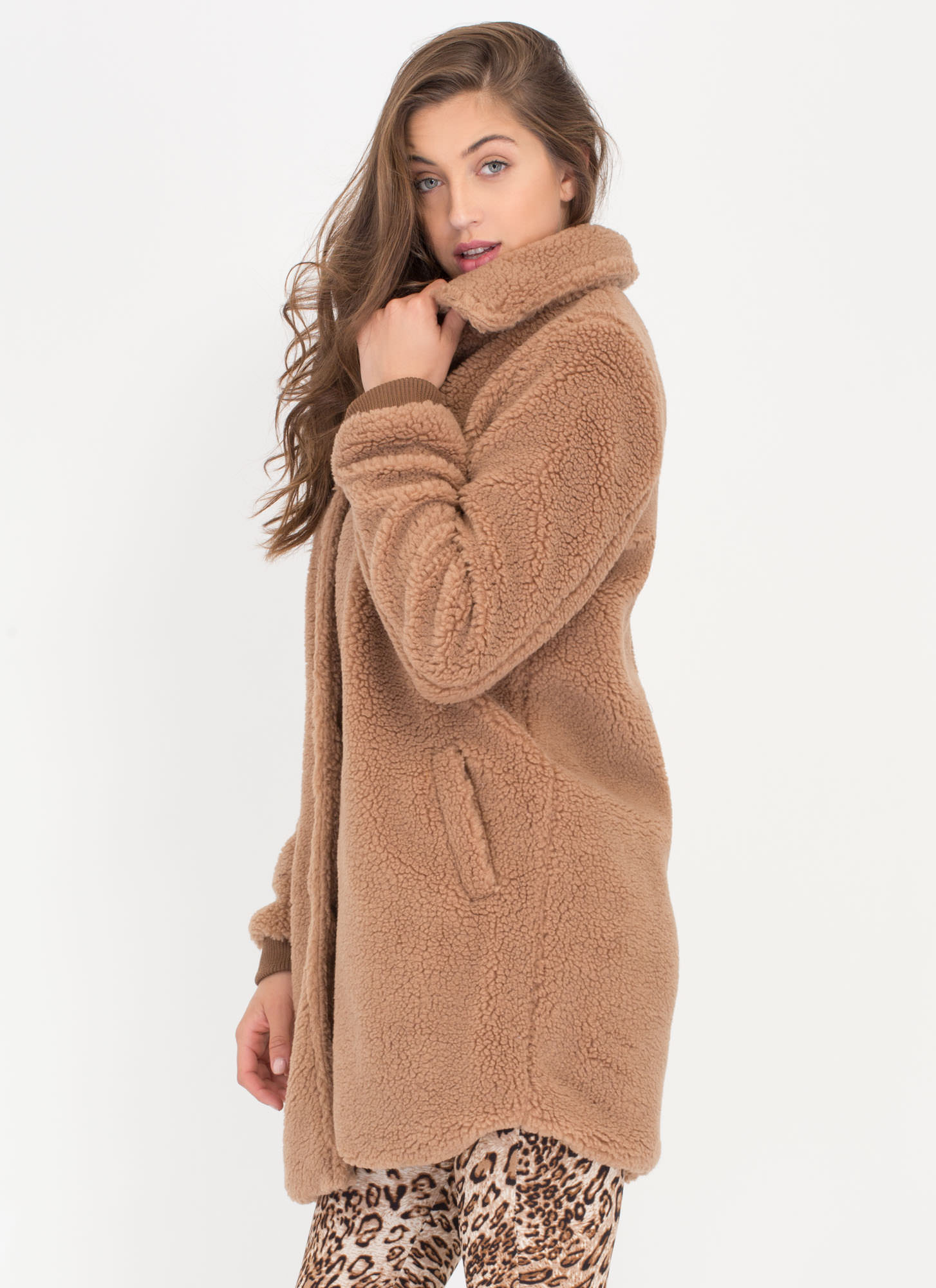 Teddy Bear Faux Shearling Coat BLUSH CAMEL - GoJane.com