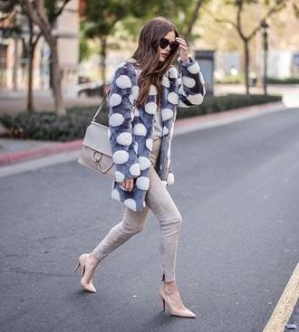 coat pom poms grey pants fur coat skinny pants pumps high heel pumps pointed toe pumps bag