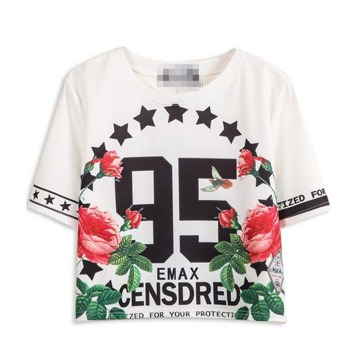 White 95 Floral Print Short Sleeve Crop T-Shirt