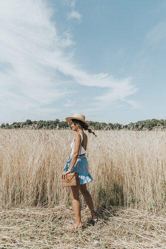 skirt ruffle wrap skirt striped skirt mini skirt tank top sandals summer hat blogger blogger style crossbody bag