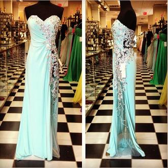 dress prom gown prom dress blue dress long prom dress blue prom open back blue prom dress grad formal formal dress slit jewled fashion