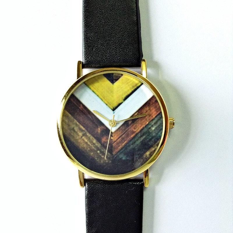 Original Freeforme Wood Chevron Watch, Vintage Style Leather Watch, Women Watches, Unisex Watch, Boyfriend Watch, Men's Watch ,Black,