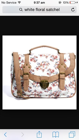 bag white floral satchel