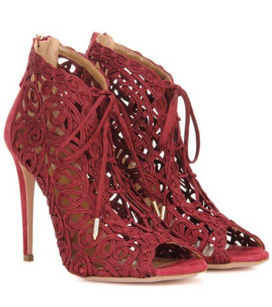 Aquazzura Kya Bootie Sandals in red
