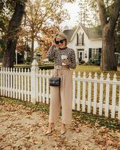 stephanie sterjovski - life + style,blogger,top,pants,shoes,sunglasses,bag,gucci bag,fall outfits,nude pants