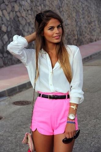 shorts neon pink shorts high waisted