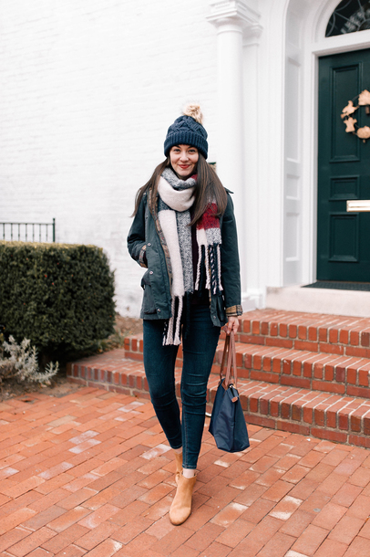 thecollegeprepster blogger sweater jacket jeans shoes scarf hat jewels make-up beanie booties fall outfits winter outfits