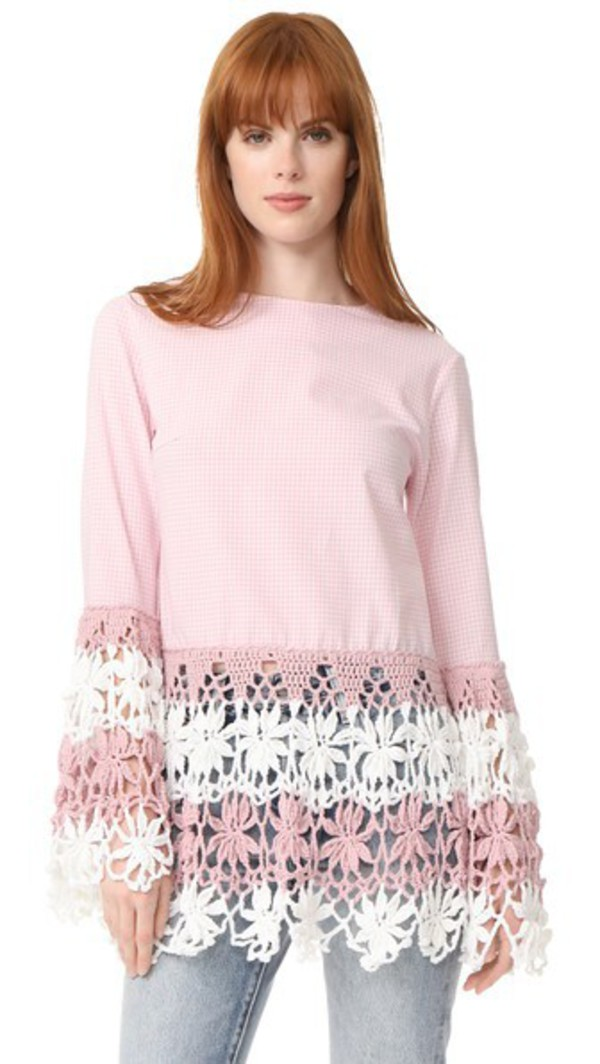 Michaela Buerger Long Sleeve Top in pink / white