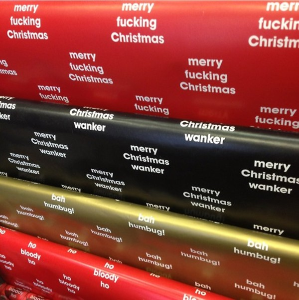 Merry Christmas, wanker (Funny Wrapping Paper)