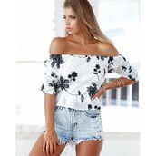 top,xenia boutique,monochrome,off the shoulder,floral