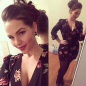 romper,plus size,v neck,dress,black,rose,elly mayday,model,fat,sex,classy,bun,hair,christmas,curvy,floral,sexy,Pin up