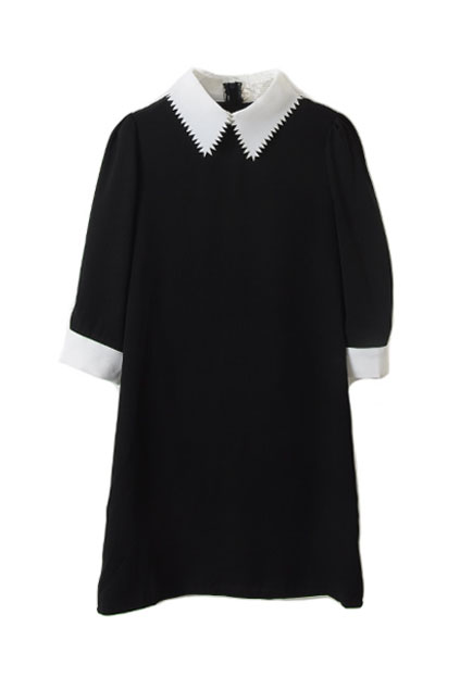 Contrast sawtooth lapel black dress [ncski0007]