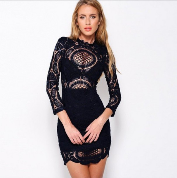 Dress: black dress- lace dress- sexy dress- cute dress- little ...