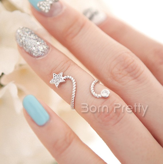 $1.99 1Pc Exquisite Spiral Open Ring Rhinestoned Star Butterfly Flower Design Knuckle Ring - BornPrettyStore.com
