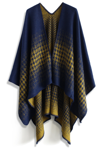 scarf lightning houndstooth blanket cape in blue chicwish blue