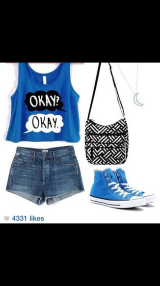 the fault in our stars blue shirt saddle bag converse high tops