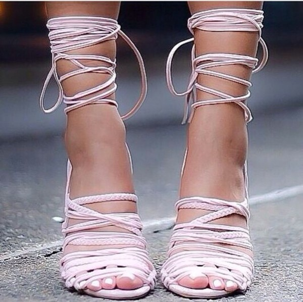 shoes heels strappy lace up heels strappy heels strappy sandals white strappy heels nude rose fashion week love shoes high heels streetstyle streetstyle selfie baypink pink strappy not monika chiang light pink blush pink lace up heels sandals urban pastel pink shorts heels pink lace up