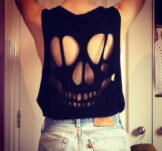 top black tank top skull t-shirt skull my daily style