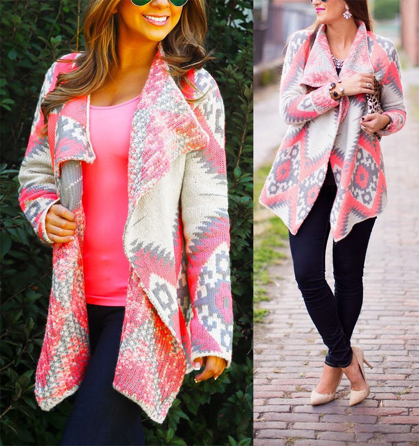 Pink Grey Tribal Aztec Southwestern Asymmetric Open Cardigan ...