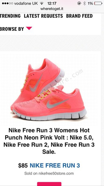 62b90bb82d2c reduced nike free run 3 5.0 hot punch neon pink uk e5590 020d6
