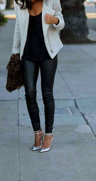 pants black leather leggings jeggings blazer white jacket shoes