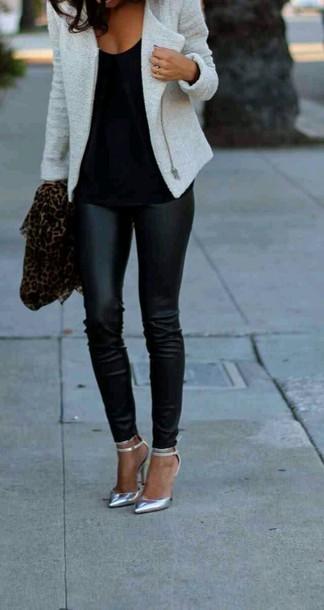pants black leather leggings jeggings blazer white jacket shoes